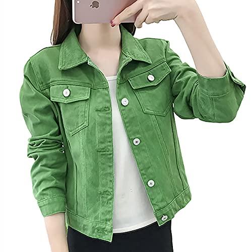 SHENSHI Denim Jacket Mujer,Chaquetas Básicas Abrigos Mujer Abrigo Corto Elástico Delgado Ropa