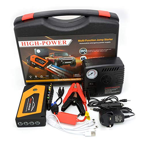 12V Car Jump Starter Kit, 18000Mah 600A Auto Battery Booster (Tot 6.0L Gas of 2.0L Diesel) Inclusief Compressor, 4 USB-Oplaadpoort En 1 Zaklamp