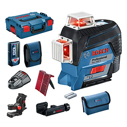 Bosch Professional 12V System Linienlaser GLL 3-80 C (1x Akku 12V, Universalhalterung BM 1, Empfänger LR 7, m. App-Funktion, roter Laser, Innenbereich, max. Arbeitsbereich: 30 m, Tasche, in L-BOXX)