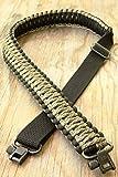 Eslingas para rifle hecha a mano con cuerda de paracaídas 550 y eslabones giratorios, ajustable, Black & Woodland Camo