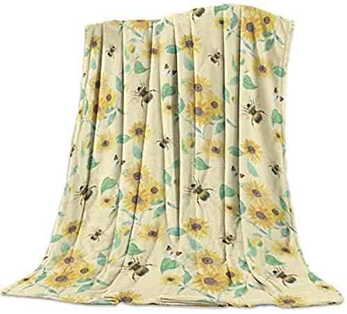 Manta de franela de forro polar, diseño de abeja de girasol, color amarillo, suave, acogedor, de microfibra, para sofá de sala de estar, oficina, 127 x 203 cm