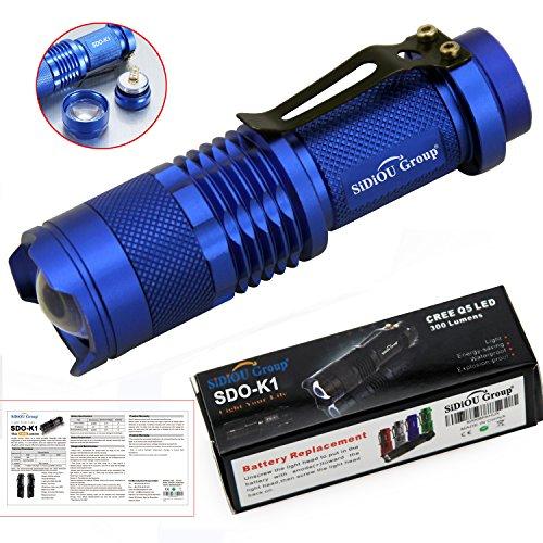 Sidiou Group 7w 300lm Mini Cree llevó linterna antorcha foco ajustable zoom lámpara de luz (azul)