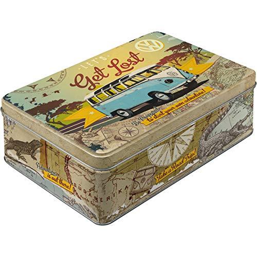 Nostalgic Art Retro flach Vorratsdose, Blech-Dose mit Deckel, Volkswagen Bulli - Let's Get Lost, 2,5 l