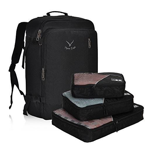 Hynes Eagle 38L Flight Approved Weekender Carry on Backpack Black with 3PCS Packing Cubes