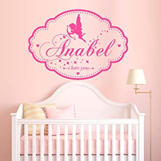 Wall Decal Vinyl Sticker Art Decor Custom Baby Name Plate Angel Wings Cupid Love Word Letter Monogram Sign Gift Kid Children Nursery (M1390)