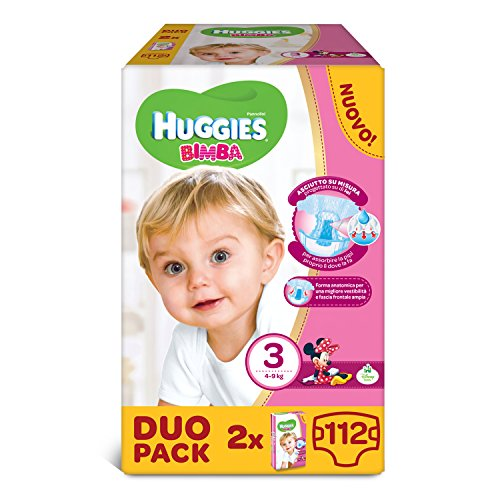 Huggies - Bimba - Pañales - Talla 3 (4-9 kg) - 2 x 56 pañales
