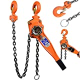 uyoyous 1653LBS Manual Lever Hoist 20 ft 6m Chain Lever Block Hoist 3/4T Manganese Steel G80 Chain Ratchet Lever Hoist Lifting with Hook for Warehouse Garages