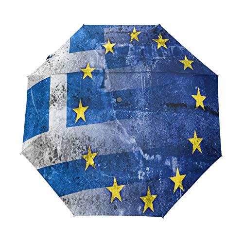 Kleiner Regenschirm Winddicht im Freien Regen Sonne UV Auto Compact 3-Fach Regenschirm Abdeckung - Griechenland und EU-Flagge