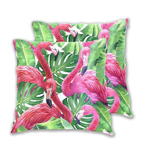 Emoya Fundas de cojín de 45 x 45 cm, diseño de flamenco, palmera tropical, hojas de plátano, fundas de almohada decorativas cuadradas para salón, sofá, dormitorio, 45 x 45 cm, paquete de 2