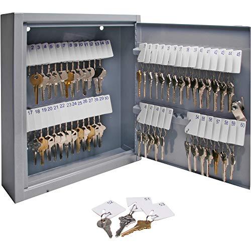 S.P. Richards Company Armoire à clés sécurisée - 25,4 x 7,6 x 30,5 cm - 60 clés - Gris (SPR15602)