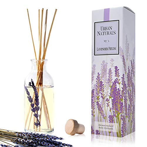 Urban Naturals Lavender Fields Oil Essential Oil Reed Diffuser Set with Real Lavender Stems! French Blossoms, Geranium & Clary Sage | #1 Gift Idea for Aromatherapy & Stress Relief | Vegan | USA Made