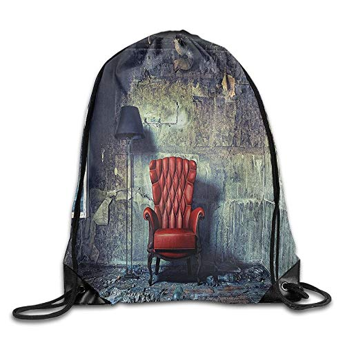 Antique Old Armchair In Grunge Retro Interior Damaged Messy Abandoned House Drawstring Bags Travel Backpack Sport Bag for Men & Women Drawstring Shoulder Bag Backpack String Bags