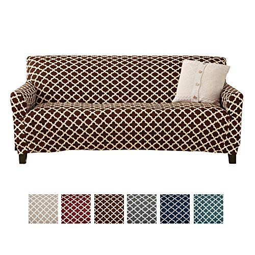 Home Fashion Designs Form Fit, Slip Resistant, Stylish Furniture Cover/Protector Featuring Lightweight Stretch Twill Fabric. Brenna Collection Basic Strapless Slipcover. By Brand. (Sofa, Chocolate)