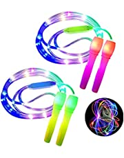 ANBET 2 stuks LED Light Up springtouw in lengte verstelbaar en drie lichtmodi Speed springtouw voor kinderen, Light Show, Fitness