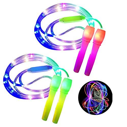 ANBET 2er Pack LED Light Up Springseil Länge verstellbar und DREI Lichtmodi Speed Springseil für Kid, Light Show, Fitness