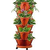 HJXX Vaso per piantare Frutta Melone vegetale, vasi per piantagione impilati creativi vasi per Piante da Interno ed Esterno per Giardinaggio Tridimensionale (Brick Red)