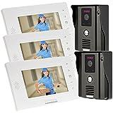 KKmoon 7' Timbre Video Portero Intercomunicador Interfono (2 Cámara de Vigilancia, 3 Monitor TFT LCD, 3 IR LED Visión Nocturna, Desbloqueo Remoto)
