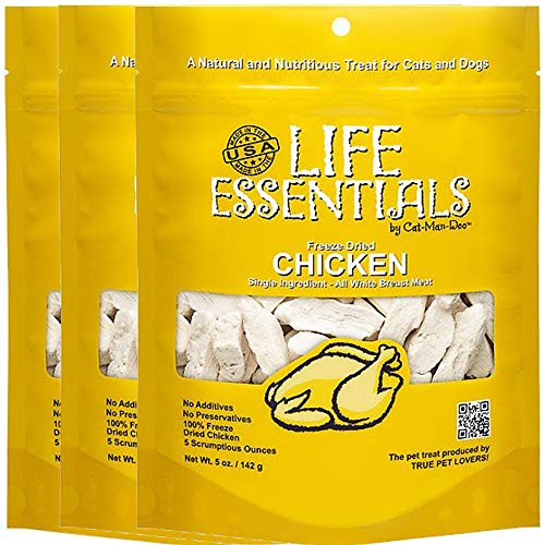 All-Natural Freeze Dried Chicken Treats for Dogs & Cats No Grains, Fillers, Additives and Preservatives Proudly Made in the USA - 3 Pack (5 oz. Bag)