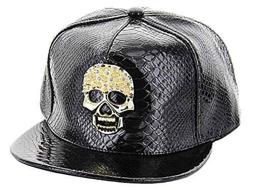 Alsino Snapback Krokoleder Kunstleder Bling Bling Kroko Look Mütze Baseball Cap Marihuana Skull, Variante wählen:Cap-117 Totenkopf gold schwarz