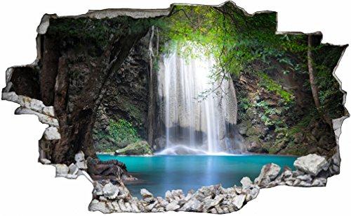 DesFoli Wasserfall Natur Landschaft 3D Look Wandtattoo 70 x 115 cm Wanddurchbruch Wandbild Sticker Aufkleber C382