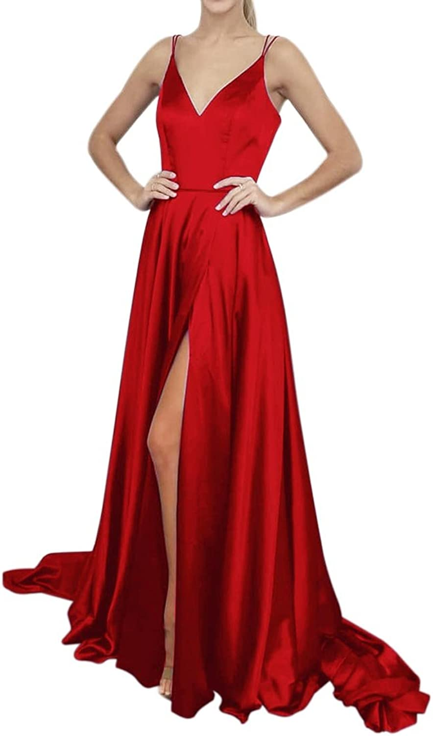 XJLY Side Split Spaghetti Straps Long VNeck Silky Cocktail Dresses Evening Dress