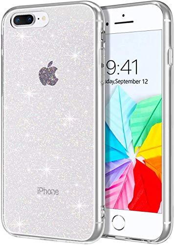 BENTOBEN iPhone 8 Plus Hülle Handyhülle Glitzer, iPhone 8 Plus Case Slim Glitzer Silikon Bumper Cover Ultra dünn Hülle für iPhone 7 Plus/iPhone 8 Plus Bling Transparent