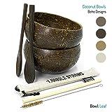 Jungle Culture | Tazones y cucharas de coco | Paja de bambú, bolsa y cepillo de limpieza | Boho Coconut Bowl Set de 2 | Orgánico y reciclado | Eco amigable y hecho a mano en Vietnam