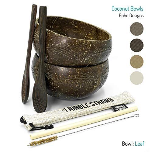Jungle Culture | Kokosnussschalen & Löffel | Bambusstroh, Beutel & Reinigungsbürste | Boho Kokosnussschale 2er Set | Bio & Upcycled | Umweltfreundlich und handgemacht in Vietnam | Plastikfreies