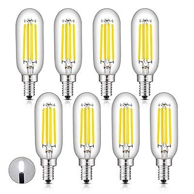 CRLight 4W LED Candelabra Bulb 5000K Daylight White, 50W Equivalent 500LM, E12 Base Dimmable LED Filament Light Bulbs, Antique Edison Style T25 Tiny Tubular Bulbs, Pack of 8