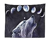mmzki Animal Wolf Moon Totem Tapiz Tapiz de Playa Toalla de Playa LT-5 200 * 150cm