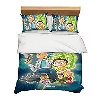 Tomifine Rick and Morty - Juego de cama de 3 piezas de microfibra suave, diseño de dibujos animados, sábana bajera Rick Morty L, 135 x 200 cm