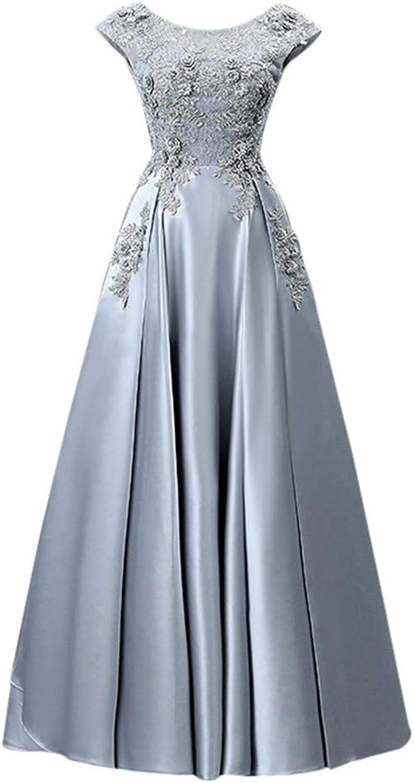 Drasawee Women's Sequin Round Neck Satin Cocktail Dress Applique Pleated Prom Dresses