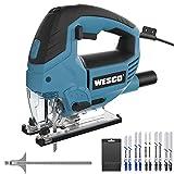 WESCO - Sierra de calar eléctrica, 850 W, 6 velocidades variables 3000SPM, ángulo máximo ±45°, 4 modos de corte, 10 unidades de hoja de corte de metal/madera/aluminio/cerámica, guía paralela/WS3772