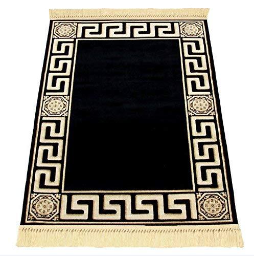 Exklusiver Mäander Medusa Teppich Versac mit handgeknüpfter Franse für Wohnzimmer, Esszimmer, Küche & Flur (67 x 105 cm)