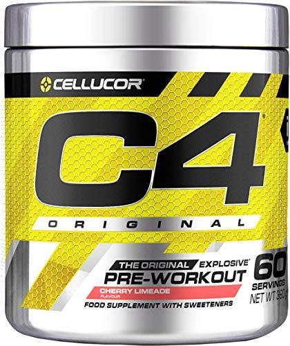 C4 Original | polvere pre allenamento Lime e ciliegia | Integratore per uomini e donne | 150 mg caffeina + Beta-Alanina + Creatina monoidrata | 60 porzioni