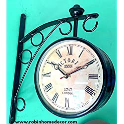 Robin Exports Double Sided Analog Vintage Design Wall Clock - Victoria Station 1747 London