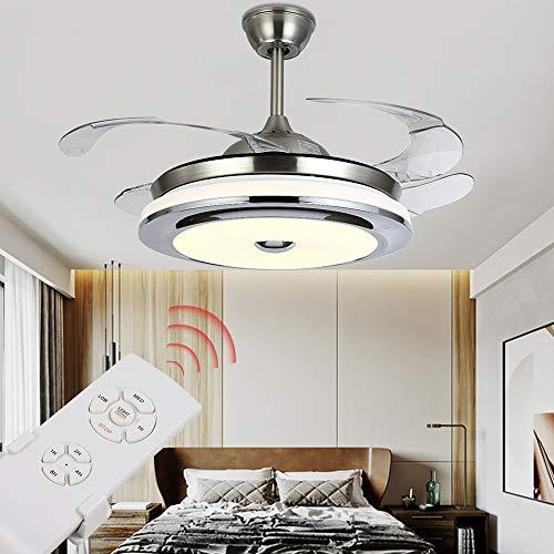 """Moderno ventilador de techo invisible, 36""""/42 pulgadas, lámpara de techo moderna con ventiladores, mando a distancia, alas retráctiles 3 velocidades, 3 colores, con motor silencioso (36 pulgadas)"""
