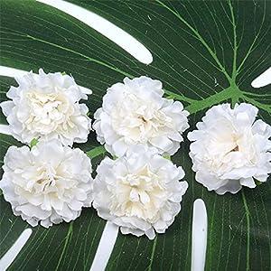 10pcs 5cm Carnation Artificial Silk Flower Head for Wedding Home Party Decoration Scrapbooking Chrismas Cheap Fake Flowers (Color : Milk White)