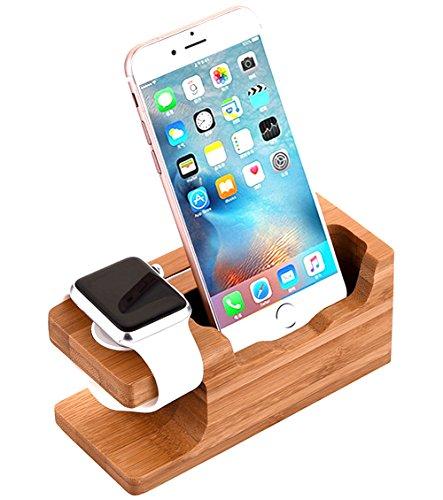 AICase Stand Ladestander für Watch,iWatch Ladedock Bambus Holz Stand für iWatch & iPhone X/ 8/8 Plus/ 7 Plus 6 6 Plus 5S 5(Bambusholz II)