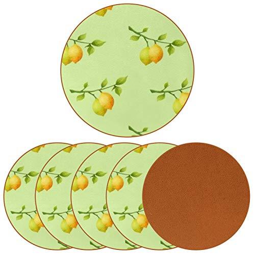 Posavasos para bebidas con vitamina C con estampado de limón, de piel, para proteger muebles, resistente al calor, decoración de bar de cocina, juego de 6