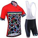 BXIO Conjuntos de Ciclismo para Hombre Jerseys de Ciclismo de Moda Transpirables Rojos 5D Gel Pad Bib Shorts Shorts de Secado rápido MTB Cycle Wear Mangas Cortas 213 (Red(213,Bib Shorts), L)