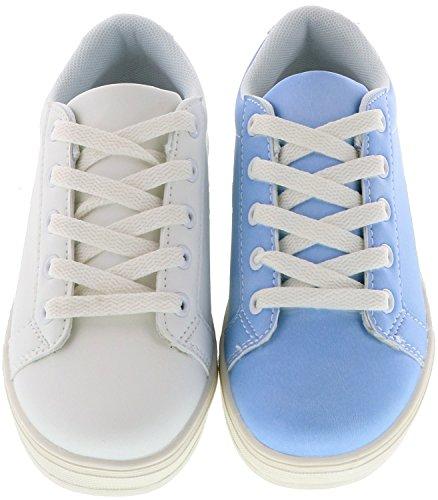 Schuhe-Trentasette Kinder Mädchen Jungen Damen UV-Farbwechsel-Sneaker weiß/blau, Größe:36, Farbe:Blau