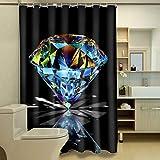 Duschvorhang Badewanne Vorhang Anti-Schimmel Duschvorhang aus Polyester Wasserabweisend Shower Curtain Anti-Bakteriell Waschbar mit 12 Duschvorhangringen Diamant 180x200 cm