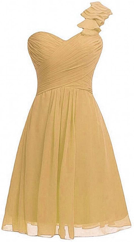 WenSai Women's Sweetheart Bridesmaid Dresses One Shoulder Mini Prom Dresses