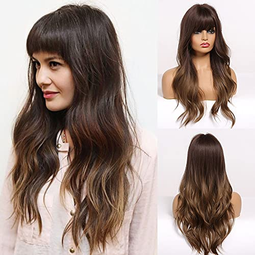 HAIRCUBE Perruques longues brunes pour femmes - Perruques synthétiques naturelles de cheveux ondulés avec frange (capuchon de perruque gratuit)