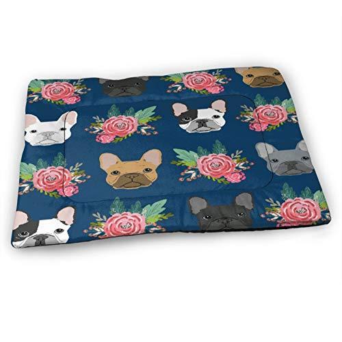 Custom Dog Pet Mat,French Bulldog Mixed Pink Florals,Soft Crate Pad Washable Anti-Slip Bed Mattress for Pets Sleeping 23'x15.5'