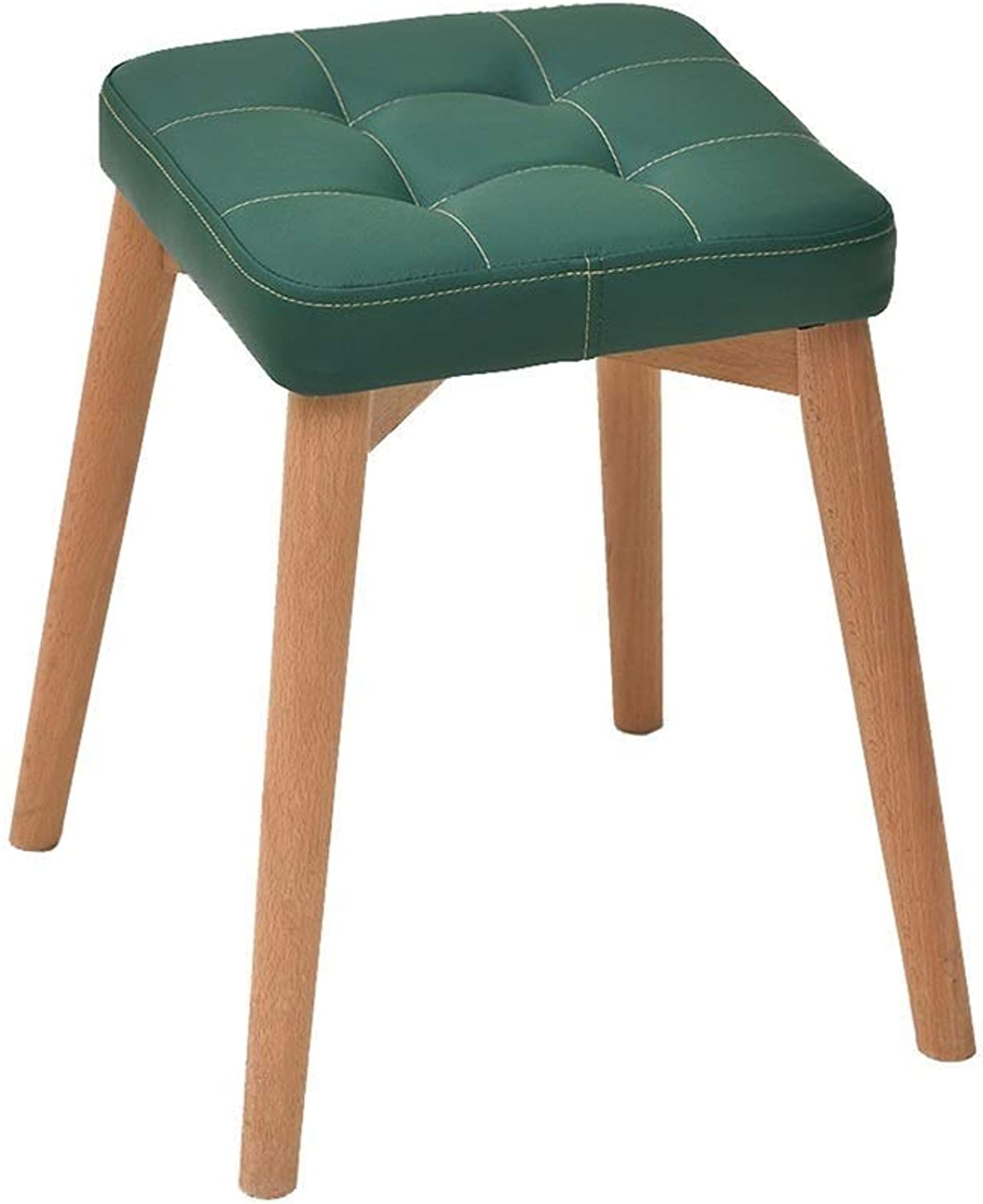 Dressing Stool Solid Wood Fabric Stool Small Bench High Stool Table Chair Home Adult Dining Stool Fashion Creative HENGXIAO (color   Green)
