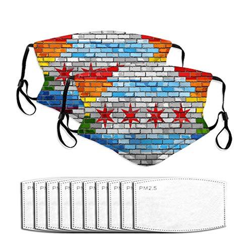 NYNELSONG Mundbedeckung waschbar und wiederverwendbar, warm, winddicht, für Damen, Herren, Jungen, Mädchen, Kinder, Ziegelmauer, Chicago und Gay-Flaggen