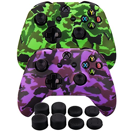 MXRC Silicone Rubber Cover Skin case Anti-Slip Water Transfer Customize Camouflage for Xbox One/S/X Controller x 2(Green & Purple) + FPS PRO Extra Height Thumb Grips x 8