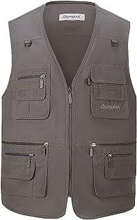 Mannen Multifunctionele Outdoor Casual Gilet, Hwalleum Mens Zomer Lichtgewicht Vest Vest Safari Multi Pocket Werken Vissen...